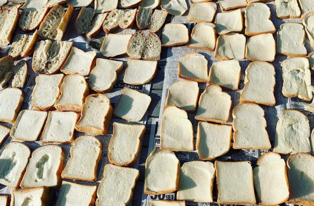 天日干しされているカケガワビールに使われた廃棄パン